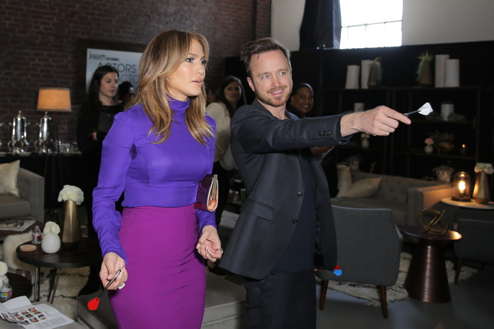 Jennifer Lopez and Aaron Paul attend Variety Studio: Actors on Actors series presented by Shop Bop/East Dane