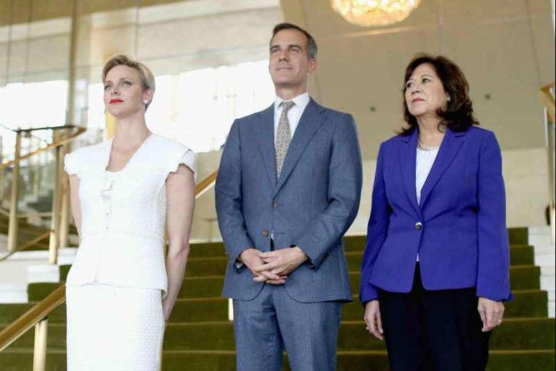 Her Serene Highness Princess Charlene of Monaco, Mayor of Los Angeles Eric Garcetti and Former United States Secretary of Labor Hilda Solis
