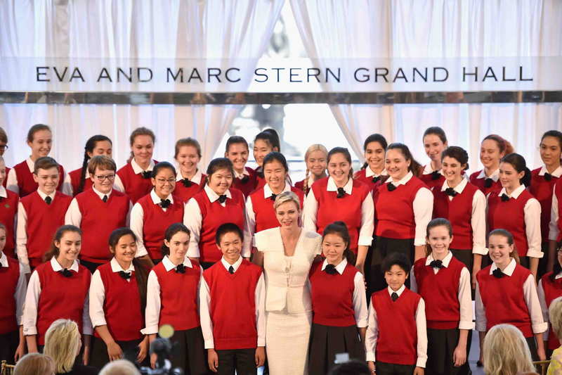 The Los Angeles Children's Chorus performs onstage during the Blue Ribbon of the Los Angeles Music Center to honor Princess Charlene of Monaco at Grand Hall at the Dorothy Chandler Pavililon