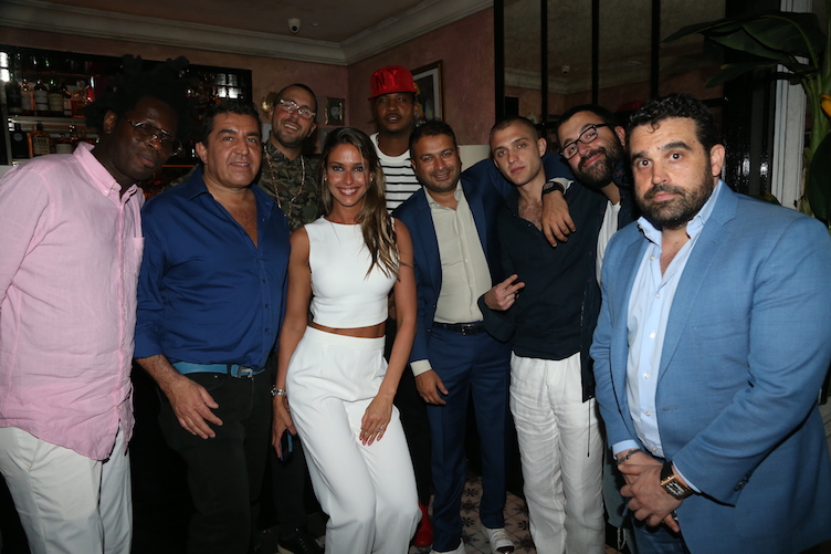 (L-R) Brad Digital, Ambassador Paolo Zampolli, John Chetrit, Carmelo Anthony, Kamal Hotchandani, Maggio Cipriani and Seth Semilof attend Carmelo Anthony's birthday celebration at Socialista on May 28, 2016 in New York City. (Photo by Johnny Nunez/Getty Images for Haute Living)