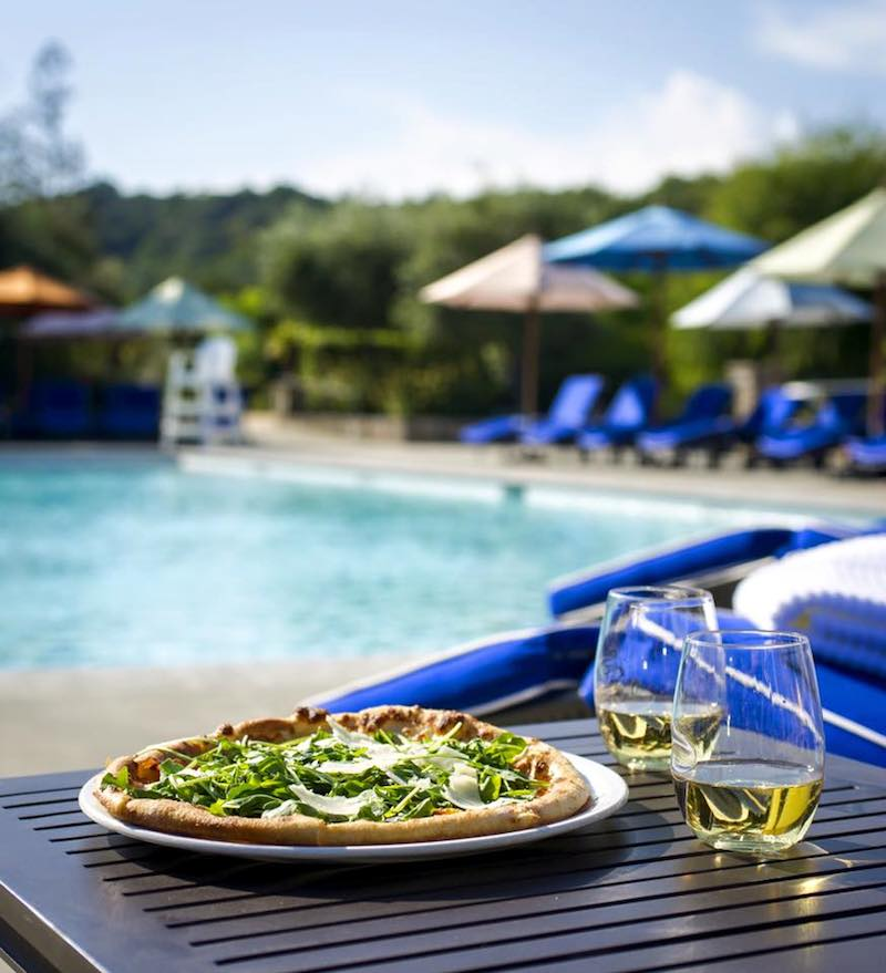 A pizza from the Pool Cafe at Francis Ford Coppola Winery.