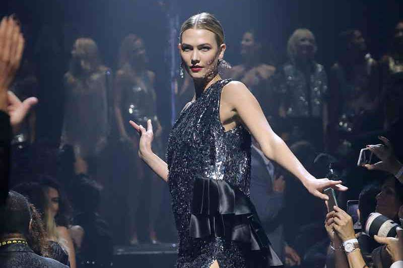 Karlie Kloss during the fashion show at amfAR's 23rd Annual Cinema Against AIDS Gala