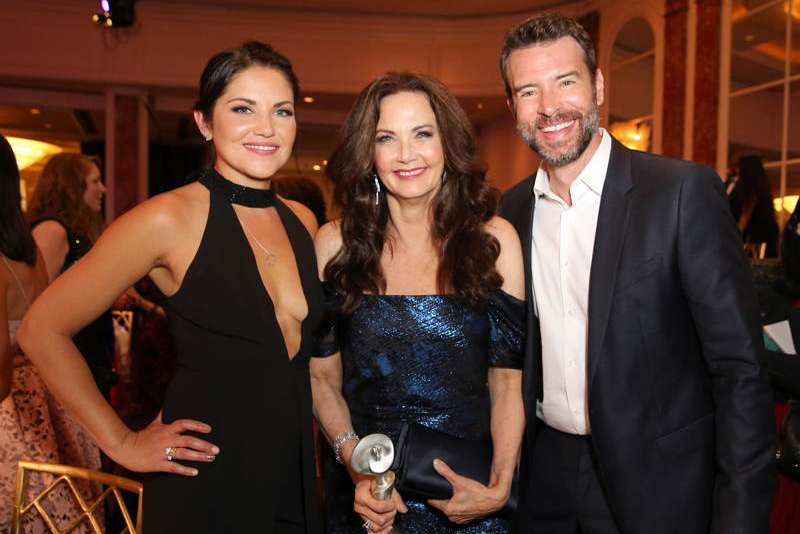 Marika Dominczyk, Honoree Lynda Carter, with Lifetime Achievement Award, and actor Scott Foley attend the 41st Annual Gracie Awards at Beverly Wilshire Hotel