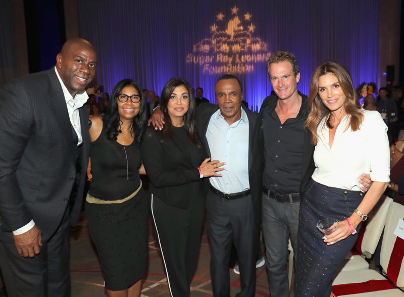 Magic Johnson, Cookie Johnson, Bernadette Leonard, Sugar Ray Leonard, Rande Gerber and Cindy Crawford