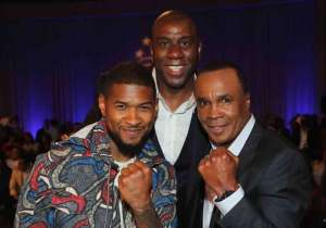 "Usher, Magic Johnson and Sugar Ray Leonard attend B. Riley & Co. and Sugar Ray Leonard Foundation's 7th Annual ""Big Fighters, Big Cause"" Charity Boxing Night at Dolby Theatre"