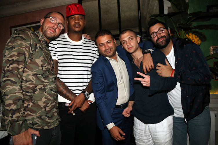 NEW YORK, NY - MAY 28: (L-R) John Chetrit, Carmelo Anthony, Kamal Hotchandani, Maggio Cipriani, and Sam Chetrit celebrate Carmelo Anthony's birthday at Socialista on May 28, 2016 in New York City. (Photo by Johnny Nunez/Getty Images for Haute Living)