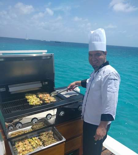 Chef aboard Monforte in Aruba