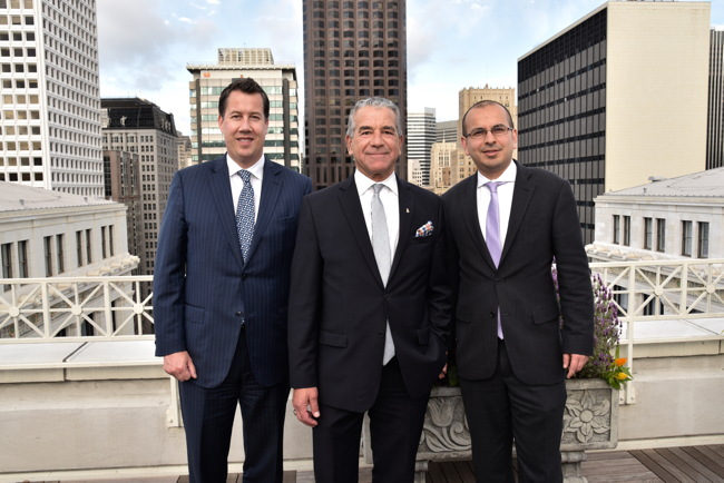 The Ritz-Carlton, San Francisco's director of sales and marketing David Burt, The Ritz-Carlton, San Francisco's general manager Bruce Gorelick, and Tabish Siddiquie