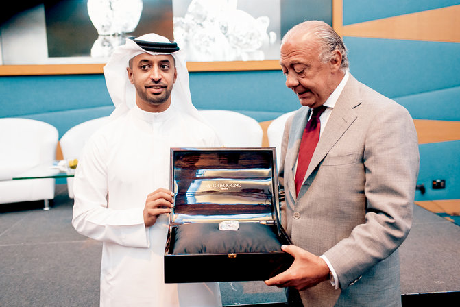 On the left, the Executive Chairman of DMCC and Chair of the Kimberly process Mr. Ahmed Bin Sulayem. On the left, Mr. Fawaz Gruosi, founder and Executive Board Member of de GRISOGONO.