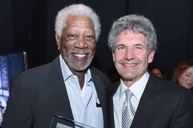 Morgan Freeman, left, and Alan Horn attend Backstage at the Geffen