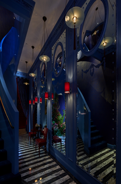 The Blue Bar-inspired entrance.
