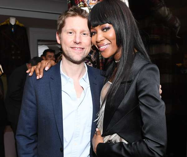 Christopher Bailey, Naomi Campbell at a party celebrating Burberry's new SoHo store.