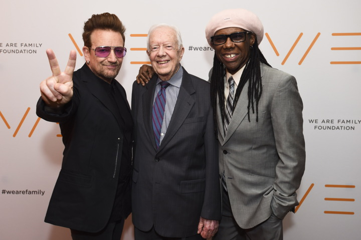 Bono, former President Jimmy Carter and co-founder of the We Are Family Foundation Nile Rodgers attend the WAFF 2016 Celebration Gala (All photo by Shahar Azran/Getty Images)