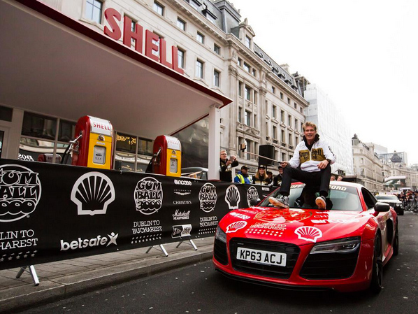 Photo via @gumball3000 @davidhasselhoff at the vintage @shell petrol station on @regentstreetw1.