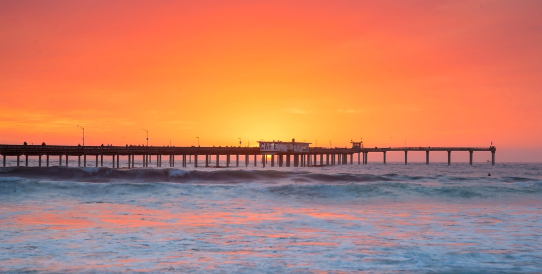The Malibu pier at sunset