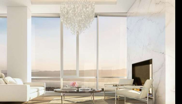 Floor-to-ceiling windows in the living room.