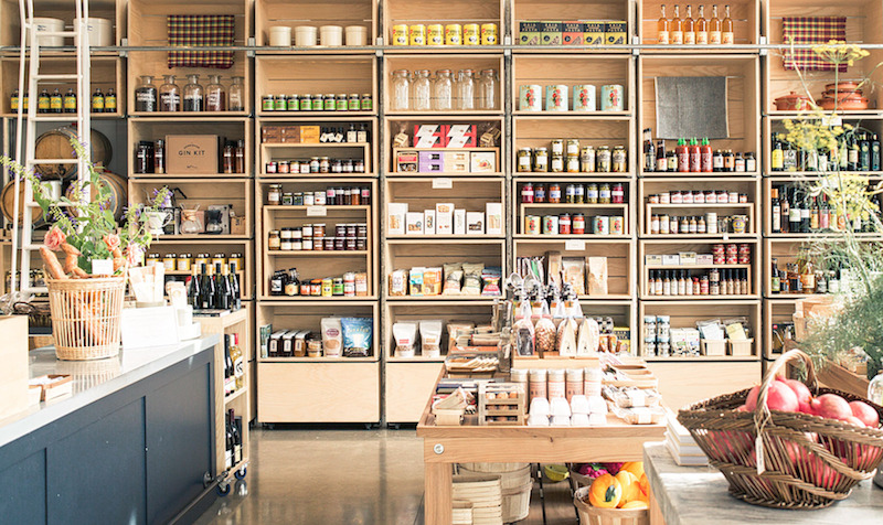 Shelves of provisions at Shed.