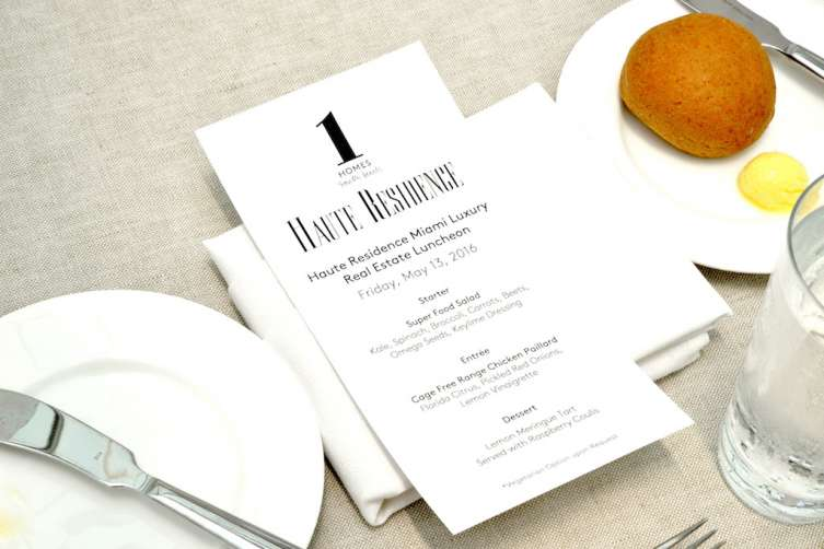 Haute Residence Miami Real Estate Summit Lunch Menu