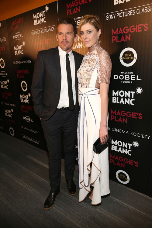 "Ethan Hawke, and Greta Gerwig at The Cinema Society with Montblanc, Mastro Dobel &;Kim Crawford Wines screening of Sony Pictures Classics""Maggie's Plan""==Landmark Sunshine Cinema, Patrick McMullan==Photo: Sylvain Gaboury/PMC===="