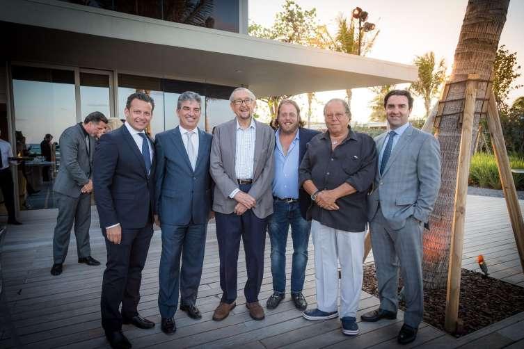 Eric Fordin, Carlos Rosso, César Pelli, Gil Dezer, Michael Dezer & Sebastian Tettamanti at the Armani/Casa Opening Dinner