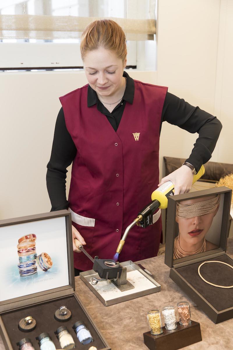 German master goldsmith Sabrina Michel demonstrates how to melt gold.