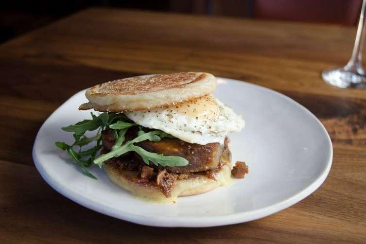 Porchetta breakfast sandwich