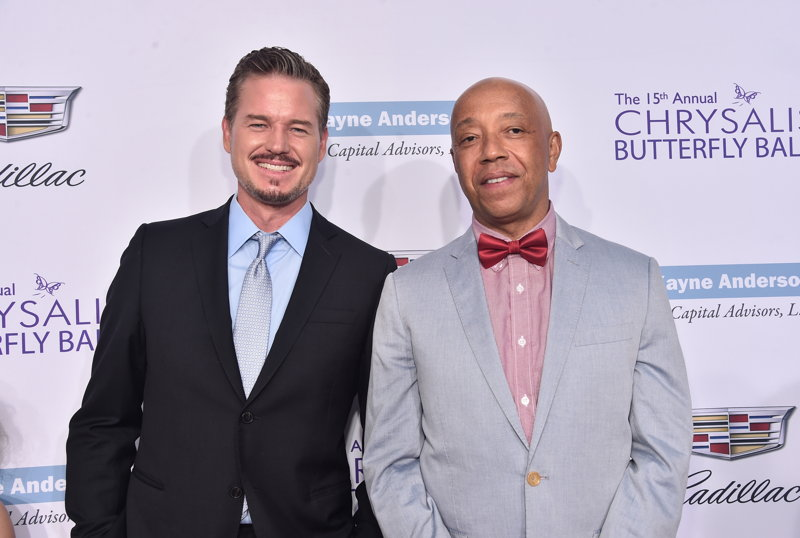 Eric Dane (L) and producer Russell Simmons