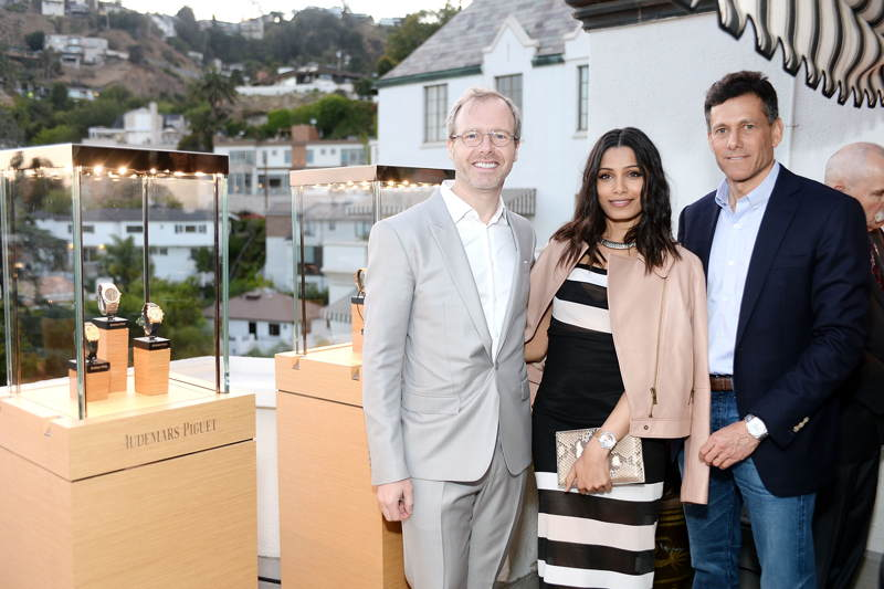 Audemars Piguet North America CEO Xavier Nolot, Freida Pinto and Take-Two Interactive CEO Strauss Zelnick attend Take-Two Interactive And Audemars Piguet Host Intimate Dinner To Celebrate The Launch Of E3 at Chateau Marmon