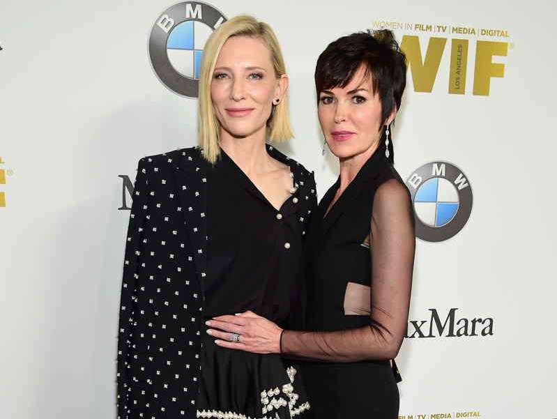 Actress Cate Blanchett (L) and honoree Hylda Queally
