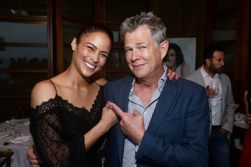 Paula Patton (L) and producer David Foster
