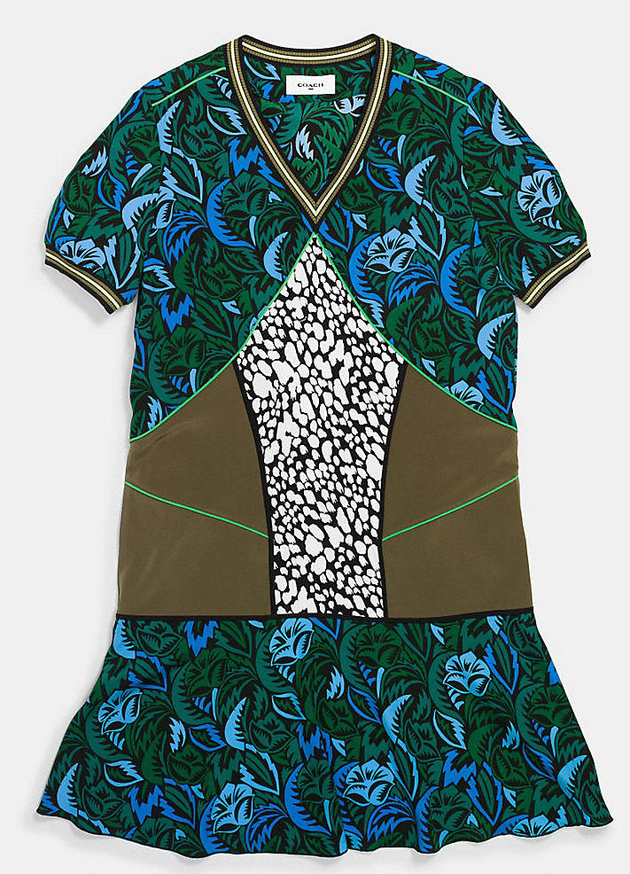 Coach's deco palm silk t-shirt dress.