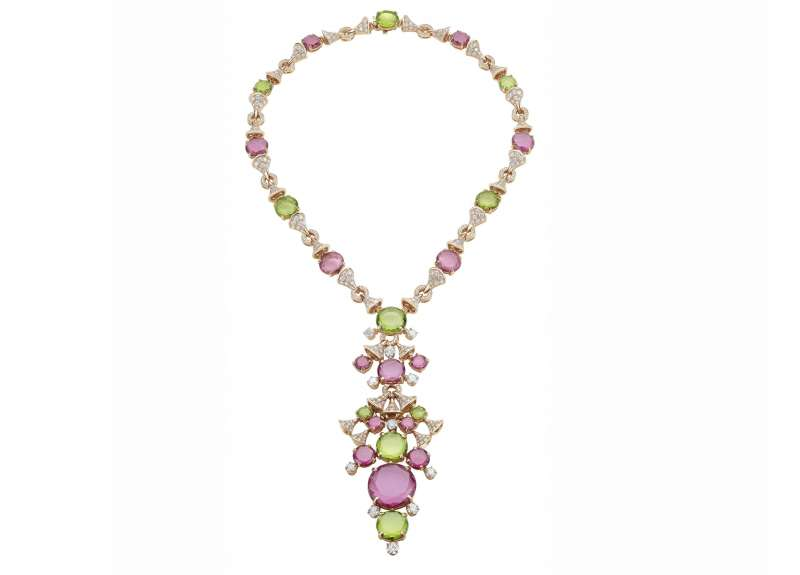 Divas' Dream High Jewelry necklace with tourmalines, rubelites, peridots, and pavé diamonds. Retail price: upon request. Available at Bulgari stores nationwide, or visit bulgari.com