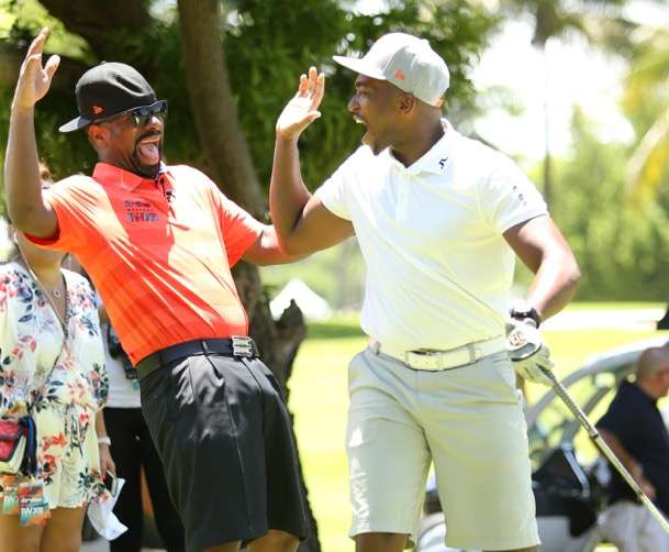 Anthony Mackie and DJ Irie are all smiles on the Miami Beach golf course at his 12th Annual Irie Weekend benefitting the Irie Foundation.