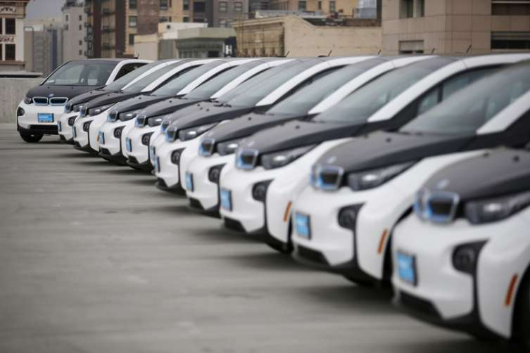 Los Angeles Police Department's newly unveiled transportation fleet of 100 fully-electric BMW i3 vehicles