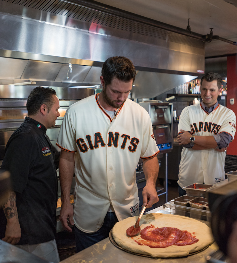 Brandon Belt makes his monster meat pie.