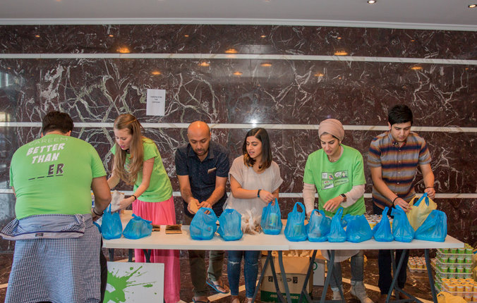 CAREEM team preparing daily Iftar meals to hand out to CAREEM Captains.