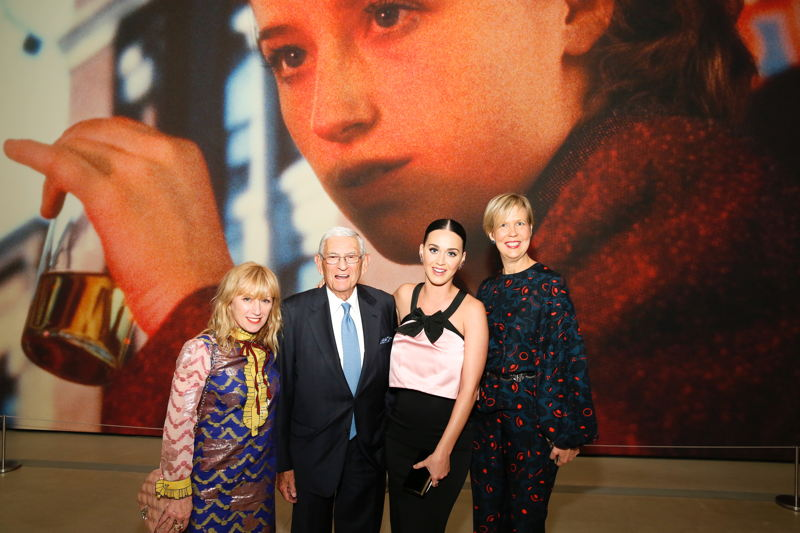 From left, artist Cindy Sherman, founder Eli Broad, Katy Perry and Joanne Heyler, Founding Director, The Broad
