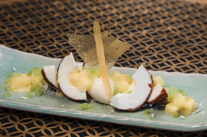 You don't want to miss the delicious coconut mousse at COYA.