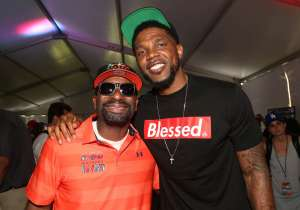 DJ IRIE and Udonis Haslem in tent on the green at The 12th Annual IRIE Weekend Celebrity Golf Tournament benefitting the Irie Foundation.