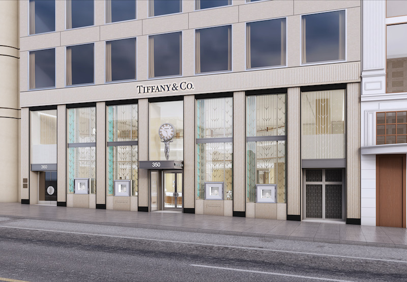 The Tiffany & Co. store's new facade on Post Street.