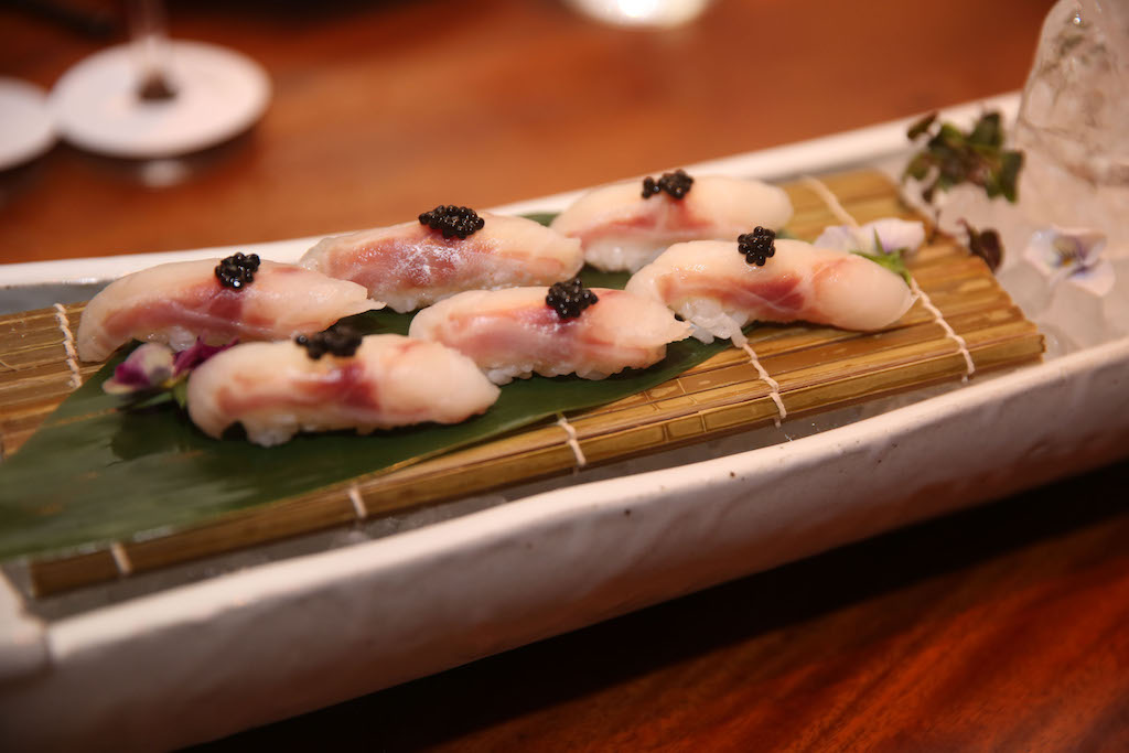 Sea Bass Sashimi with Yuzu, Truffle and Salmon Roe