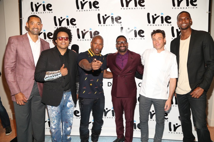 Juwan Howard, ELEW, Jamie Foxx, DJ IRIE, Rocco DiSpirito and Chris Bosh attending the #InspIRIE Gala dinner benefiting the IRIE foundation presented by Hublot