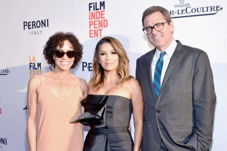 "Los Angeles Film Festival director Stephanie Allain, actress Eva Longoria, and President of Film Independent Josh Welsh attend the premiere of ""Lowriders"" during opening night of the 2016 Los Angeles Film Festival at ArcLight Cinemas' Cinerama Dome on June 1, 2016 in Hollywood, California"