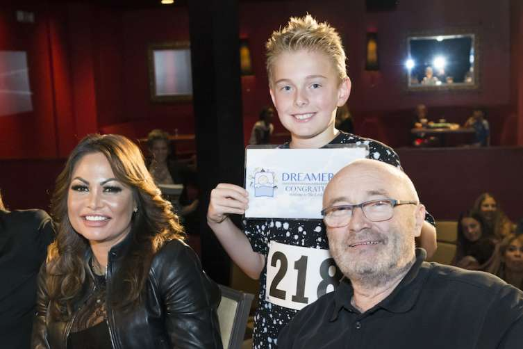 "Orianne Collins, Devin Shattuck and Phil Collins at the 2016 Little Dreams Foundation music auditions held at the Seminole Hard Rock Hotel & Casino in Hollywood on June 11th, 2016. Invited to the open audition were singers, drummers, musicians, guitarists, keyboard players, bass guitarists, violinists, trumpets or any other orchestral instrument player to participate to become one of the LDF ""Little Dreamer"" kids. (Photo by MagicalPhotos / Mitchell Zachs)"