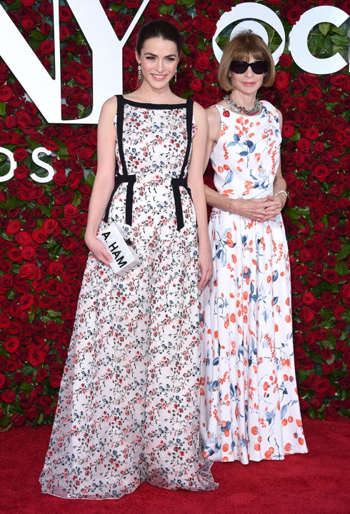 Bee Shaffer in Erdem and Anna Wintour in Schiaparelli (Photo by Dimitrios Kambouris/Getty Images for Tony Awards Productions)