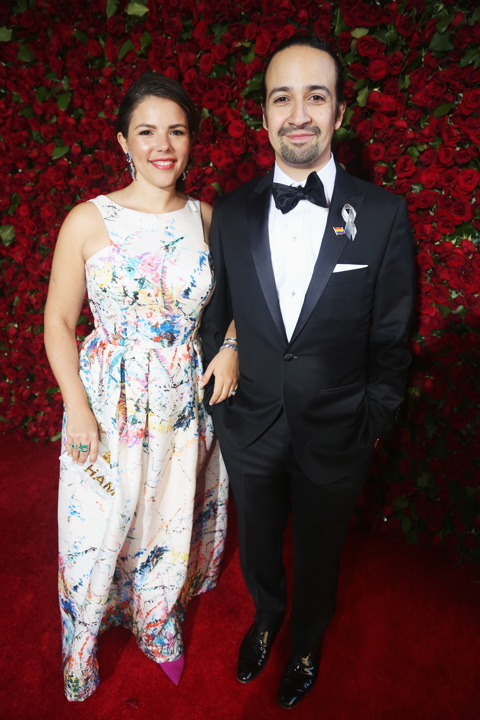 NEW YORK, NY - JUNE 12: Lin-Manuel Miranda (R) and Vanessa Nadal attends 70th Annual Tony Awards - Arrivals at Beacon Theatre on June 12, 2016 in New York City. (Photo by Bruce Glikas/FilmMagic) *** Local Caption *** Lin-Manuel Miranda;Vanessa Nadal