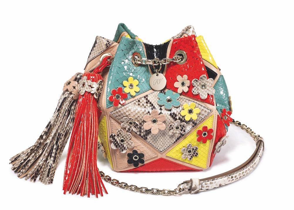 Roger Vivier Prismick Aumonière Gypsy Flowers bucket bag