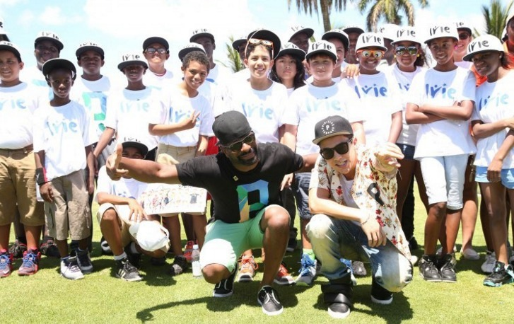 DJ Irie with the Irie Foundation students.