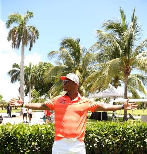 Supergirls' Mehcad Brooks taking in some sun at the 12th Annual IRIE Weekend Celebrity Golf Tournament in Miami Beach benefitting the Irie Foundation