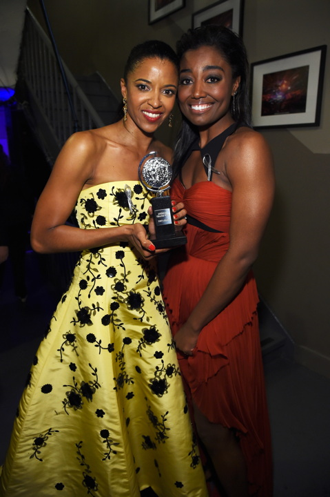 NEW YORK, NY - JUNE 12: Renee Elise Goldsberry (L) and Patina Miller pose backstage at the 70th Annual Tony Awards at The Beacon Theatre on June 12, 2016 in New York City. (Photo by Kevin Mazur/Getty Images for Tony Awards Productions) *** Local Caption *** Renee Elise Goldsberry;Patina Miller
